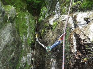 「象の鼻」登攀時にカムがきめられた。エイリアン黄は何かと重宝する。
