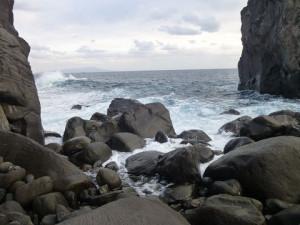 「オーシャン」エリアからみた海原 遠くに大島