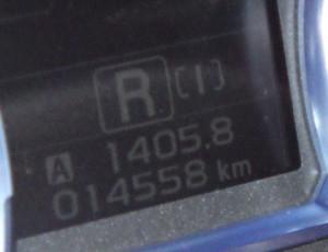 今回の走行距離(上段の数字)