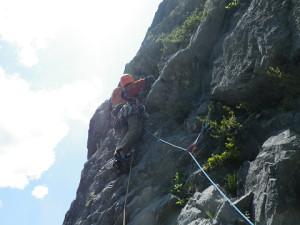12P目 「かぶ」左のカンテ目指して登る