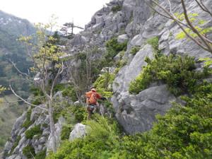 15P目 少し登りすぎたが、トラバースでラインに戻る もう1Pで終了