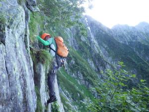 ワンポイントの登攀はノーロープ