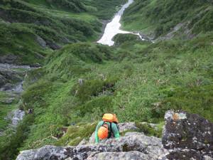気持ちの良い岩稜のクライミング